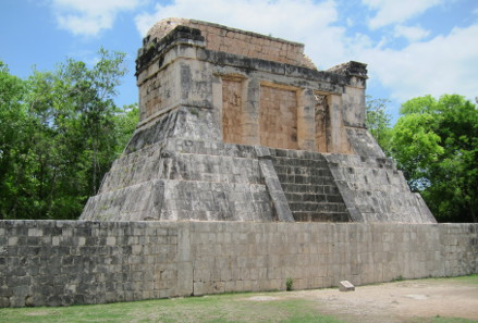 The Temple of the Jaguars at the long side of the ball court. Photograph: UK.