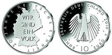 Deutschland; 10-Euro; 20 Jahre Deutsche Einheit; 18 g Silber 925; Designer: Erich Ott / München; Berlin (A).