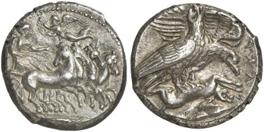 Akragas. Tetradrachm, 411 BC. From Künker auction sale 248 (2014), 7050.