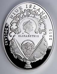 Niue Island, 2 Dollars, Mint of Poland / Warsaw, silver 925 with Swarovski crystals, ellipse 41,6x55,6 mm, 56,56 g., proof, mintage: 7.000 pieces