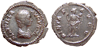 69: Plautilla, wife of Caracalla. Denarius. Rome, AD 203. RIC 367; BMCRE p. 237, 422. VF. Estimate $150.