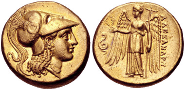 15: KINGS of MACEDON. Alexander III the Great. 336-323 BC. Stater. Sardes mint. Struck under Menander, circa 330/25-324/3 BC. Price 2532. Good VF, scratches in lower left field of reverse. Estimate $1500.