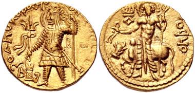 141: INDIA, Kushan Empire. Vasudeva II. Circa AD 290-310. Dinar. Mint I (A). MK 528. Near EF. Estimate $500.