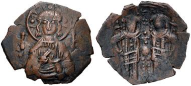 417: Alexius III Angelus-Comnenus. BI Aspron Trachy. Constantinople mint. Struck 1195-1197. DOC 3; SB 2012. VF. Estimate $100.
