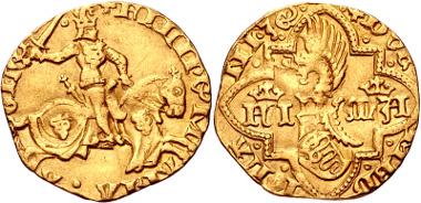 444: ITALY, Milano (Duchi). Filippo Maria Visconti. 1412-1447. Fiorino d'oro. Crippa 1/A. VF. Estimate $3000.