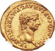 23073: Claudius. Aureus. Rome or Lugdunum, ca. AD 46-47. RIC 40. NGC Choice MS 5/5 - 5/5. Estimate: $60,000-$85,000.