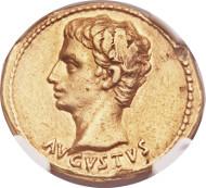 23069: Augustus (27 BC-AD 14). Aureus. Colonia Patricia, ca. 25-22 BC. Calicó 258 (R5). NGC Choice VF 5/5 - 2/5, scuffs. Estimate: $15,000-$20,000.