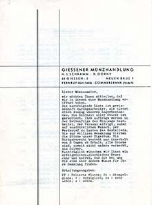 Die erste Liste der Giessener Münzhandlung.
