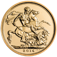 The Royal Mint's 2014 bullion Sovereign coin.