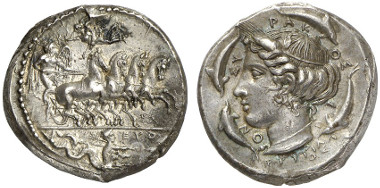 Syracuse. Tetradrachm, ca. 415-409. Signed by
