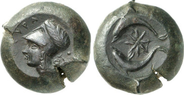 Syracuse. AE, 344-336. Athena's head. Rv. Two dolphins surrounding star. From Gorny & Mosch auction sale 216 (2013), 2166.