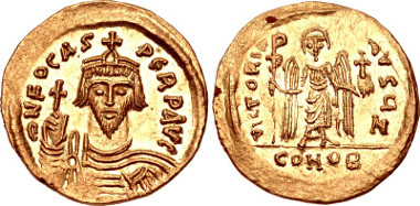 Gold Solidus of Phocas, struck between 603-607 at Constantinople. Ex CNG 87 (18 May 2011), lot 1216.