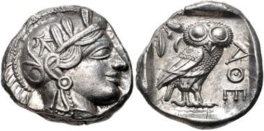 32: ATTICA, Athens. Circa 454-404 BC. Tetradrachm (25mm, 17.19 g, 7h). Kroll 8; SNG Copenhagen 31. Good VF, light test cut on neckguard. Estimate $300.
