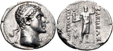 116: BAKTRIA, Greco-Baktrian Kingdom. Agathokles Dikaios. Circa 185-175 BC. Tetradrachm (31mm, 16.42 g, 12h). Bopearachchi 1D; SNG ANS 230; HGC 14, 81. VF, roughness. Estimate $750.