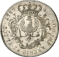 Lot 2753: PRUSSIA. Frederick II (1740-1786). Speciesthaler 1755, Berlin. Dav. 2592. First strike. About proof-like. Estimate: 30,000,- euros. Hammer price: 65,000,- euros.