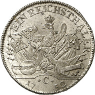 Lot 2738: PRUSSIA. Frederick II (1740-1786). Prussian reichsthaler 1752 C, Cleve. Dav. 2584. Extremely rare in this grade. About proof-like. Estimate: 4,000,- euros. Hammer price: 34,000,- euros.