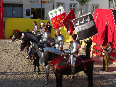 The knights, about to compete. Photograph: KW.
