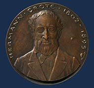 Bronzemedaille zum 100. Todestag von Hermann Grote (1802-1895), 1995. © Landesmuseum Hannover.
