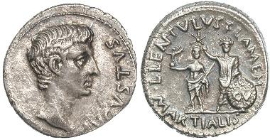 Augustus, Denar des L. Lentulus, 12. v. Chr. RIC 415. Aus Freeman & Sear, Manhattan Sale I, 05.01.2010, Nr. 188.