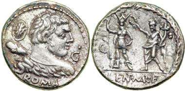 Römische Republik, Denar des P. Cornelius Lentulus Marcellinus, um 100 v. Chr. Crawford 329/1b. Aus Ira & Larry Goldberg Coins & Collectibles, Inc., Auct. 69, 29.05.2012, Nr. 3274.