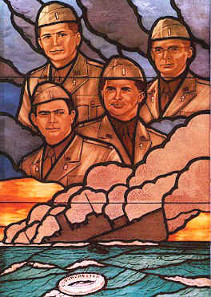 Even the U.S. Pentagon has a stained glass window depicting the Four Chaplains./ Source: Wikicommons.