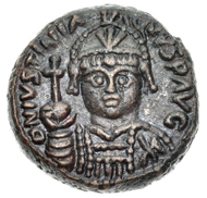 Bronze Decanummium of Justinian I, struck between 547-565 at Rome. Courtesy of Classical Numismatic Group, Inc.