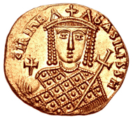 Gold Nomisma of Irene, struck between 797-802 at Constantinople. Courtesy of Classical Numismatic Group, Inc.