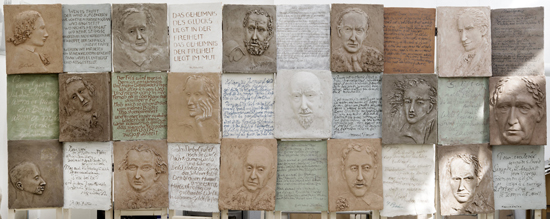 Reliefwand mit Dichtern und Schriftstellern, 2013/2014. © Hubertus von Pilgrim. Fotos: Nicolai Kästner.