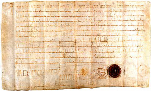 The document by which Louis the German founded the Fraumünster in Zurich for his daughter Hildegard on July 21, 853. Source: Wikicommons.