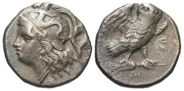 Lot 15-011: Calabria, Tarentum. Ca. 280-272 B.C. AR drachm. Vlasto 1068ff; HN Italy 1018; SNG ANS 1317. VF. Estimate: $150.