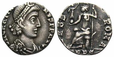 Lot 15-243: Gratian. A.D. 367-383. AR siliqua. Trier mint, A.D. 367-375. RIC 27f; RSC 86b. gVF, toned and clipped. Estimate: $150.