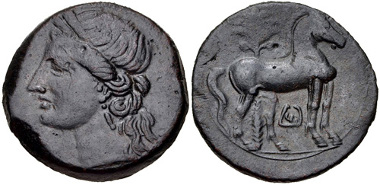 12: CARTHAGE, Second Punic War. Circa 220-215 BC. Trishekel (30mm, 19.06 g, 12h). MAA 84b; Müller, Afrique 154; SNG Copenhagen 341-3. VF, grayish-brown patina. Estimate $200.