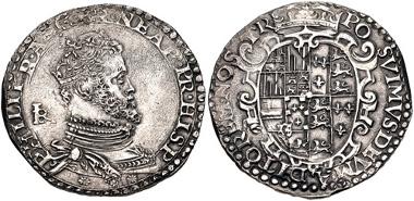462: ITALY, Napoli (Regno). Filippo II di Spagna. Mezzo Ducato (33mm, 14.54 g, 1h). Napoli (Naples) mint; Giovan Battista Ravaschieri, mintmaster. Struck 1554-1556. Pannuti-Riccio 3; MIR 159. VF, light roughness. Scarce. Estimate $500.