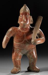 389: Mexiko. Colima. Ca. 200 v. Chr. - 400 n. Chr. Schamanistische Wächterfigur. H. 37,8 cm. Taxe: 4.000.- EUR.