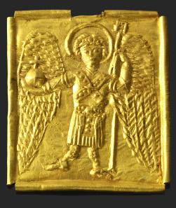 1335: Plakette mit stehendem Erzengel Michael. Goldblech. Mittelbyzantinisch. 4,0 X 3,4 cm. Taxe: 36.000.- EUR.