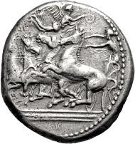 2561: Italien. Sizilien. Katana. Tetradrachme. Um 410 v. Chr. Taxe: 1.500.- EUR.