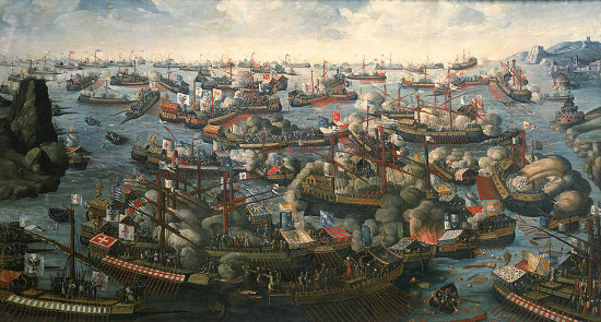 The Battle of Lepanto 1571. National Maritime Museum, Greenwich, London. Caird Fund. Source: Wikicommons.
