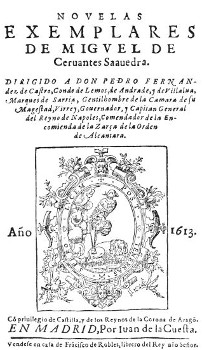 Title page of Novelas Exemplares, 1613. Source: Wikicommons.