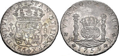 Lot 1423: COLOMBIA, Colonial. Fernando VI. King of Spain. 1759-No Ro JV 8 Reales. Nuevo Reino (Santa Fé de Bogotá) mint. Juan de Chávez and Victoriano del Valle y Mendoza, assayers. KM 33; Gilboy SF-8-1. In NGC encapsulation graded MS 62 WINGS APPROVED. Very lustrous toned uncirculated. One of the rarest coins of colonial Spain, and one of the most sought after coins of the Colombian royal series. Realized $95,000 (without buyer's fee) against an estimate of $60,000.