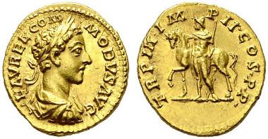 478: Commodus als Augustus. Aureus (7,19g), Roma, 178 n. Chr. RIC 648 (R2), C 760 (180 Fr.), Calicó 2337b (stgl. Abb.). Kleine Kratzer im Av. hinter dem Kopf. R. Rufpreis: 25.000 Euro.
