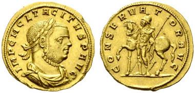 618: Tacitus. Aureus (4,40g), Siscia (Sisak), 1. Emission, November 275-Juni 276 n. Chr. RIC² 3587 (3 Exemplare, online, temporäre Nr.), RIC 111 (R2), C 30 (300 Fr.), Calicó 4069 (R3). Kleine Randkerbe, kleine Kratzer. Ex Slg. Trau, A. Hess 1935, 3116. RR. Rufpreis: 15.000 Euro.