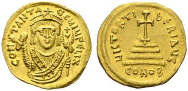 760: Tiberius II. Constantinus. Solidus (4,47g), Constantinopolis, 6. Offizin, 579 n. Chr. Sear 420, MIB 2, Sommer 6.1. Zahlreiche feine Haarkratzer im Rv. RR. Rufpreis: 1.800 Euro.