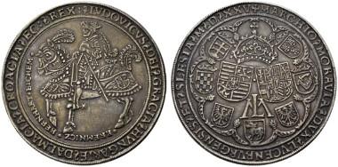 1816: Ludwig II. 1 1/4 Schautaler (36,62 g) 1525 Kremnitz RR schöne Patina. Rufpreis: 10.000 Euro.