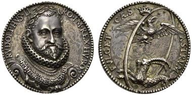 1902: Rudolph II. AR-Medaille (9 g) ( 32 mm) o.J. (1603/1608) von Paul von Vianen. Rufpreis: 2.000 Euro.