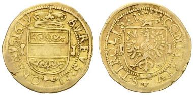 2575: Interregnum - Tirol. Goldgulden (3,18 g) 1619 Hall, RRR. Rufpreis: 5.000 Euro.