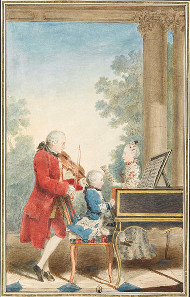 The Mozarts on concert tour: Leopold, Wolfgang and Nannerl. Watercolor by Louis Carrogis Carmontelle, around 1763. Source: Wikicommons.