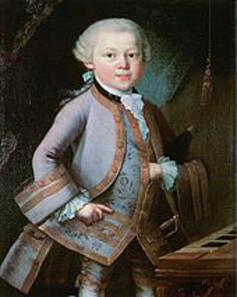 Wolfgang Amadeus Mozart at the age of 21, wearing the Order of the Golden Spur. Source: Wikicommons.
