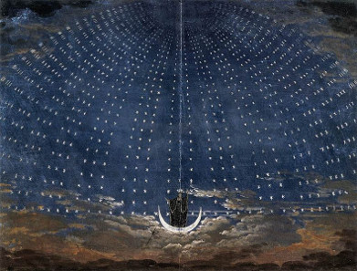 Stage set for Mozart's Magic Flute by Karl Friedrich Schinkel, 1815. Source: Wikicommons.
