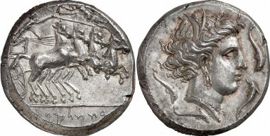 Panormos. Tetradrachm, around 300. To the right, quadriga, inscription in the exergue Rsmlqt. Rv. Head of the Tanit, after Syracusan model, to the right, surrounded by four dolphins. From Gorny & Mosch auction sale 159 (2007), 54.