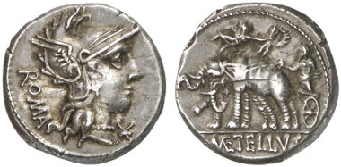 Roman Republic. Denarius, 125 BC. Rv. Jupiter in elephant biga, Victoria bringing a wreath from the left. From Künker auction sale 204 (2012), 435.